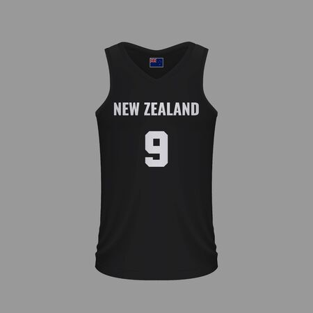 Realistic basketball shirt New Zealand, jersey template for kit. Vector illustration