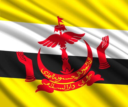 Background with 3d waving flag of Brunei Banque d'images - 129540359