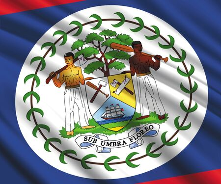 Background with 3d waving flag of Belize Vectores