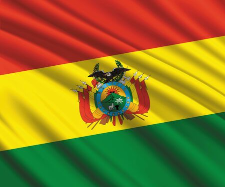 Background with 3d waving flag of Bolivia