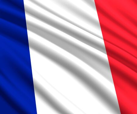 Background with 3d waving flag of France
