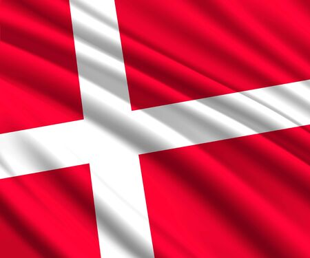Background with 3d waving flag of Denmark