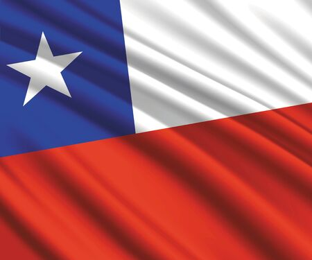 Background with 3d waving flag of Chile  イラスト・ベクター素材