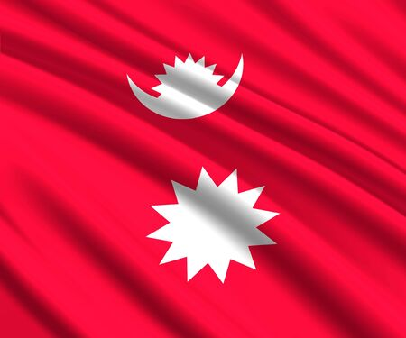 Background with 3d waving flag of Nepal Иллюстрация