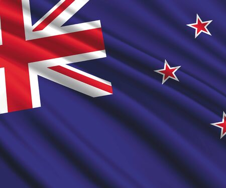 Background with 3d waving flag of New Zealand  イラスト・ベクター素材