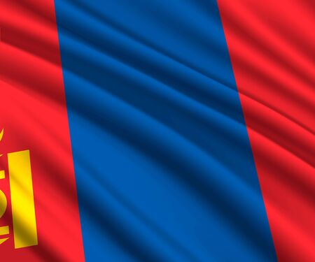 Background with 3d waving flag of Mongolia  イラスト・ベクター素材