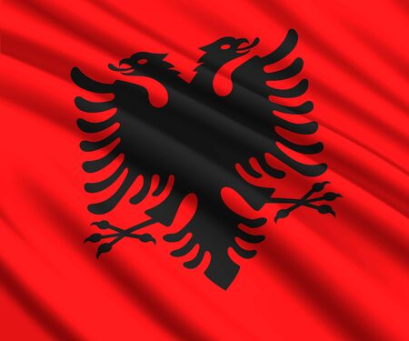 Background with 3d waving flag of Albania Illustration