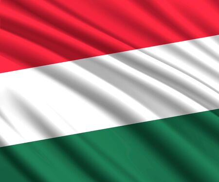 Background with 3d waving flag of Hungary