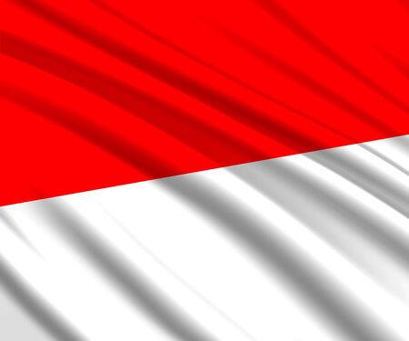 Background with 3d waving flag of Indonesia