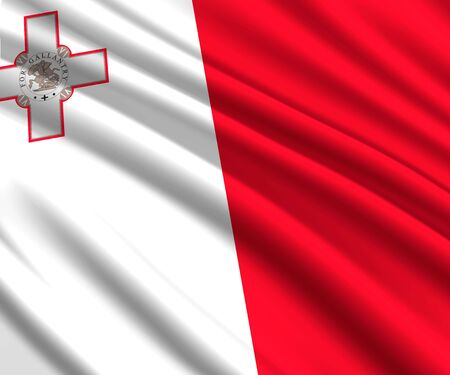 Background with 3d waving flag of Malta 스톡 콘텐츠 - 129540951