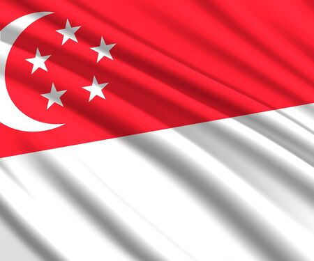 Background with 3d waving flag of Singapore