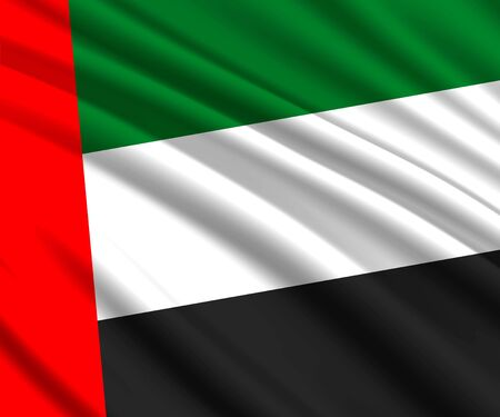 Background with 3d waving flag of United Arab Emirates