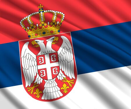 Background with 3d waving flag of Serbia