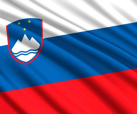 Background with 3d waving flag of Slovenia Imagens - 129541251