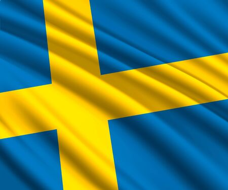Background with 3d waving flag of Sweden 일러스트
