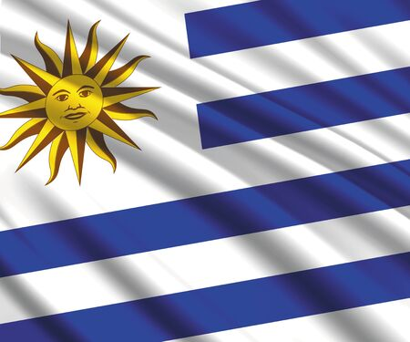 Background with 3d waving flag of Uruguay