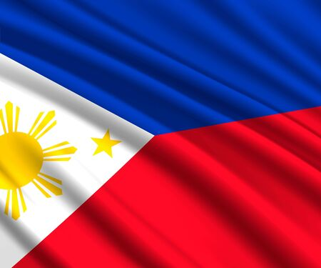 Background with 3d waving flag of Philippines Ilustrace