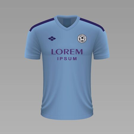 Realistic soccer shirt Manchester City 2020, jersey template for football kit. Vector illustration