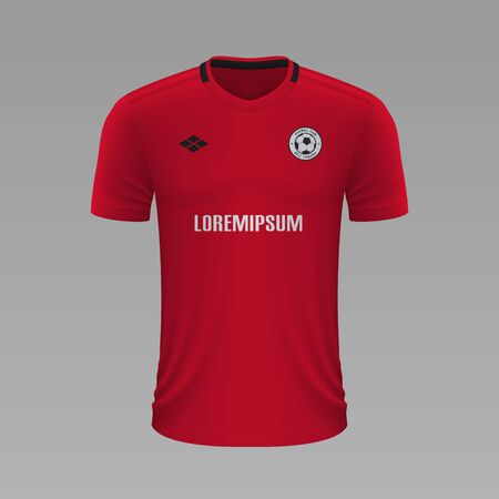 Realistic soccer shirt Manchester United 2020, jersey template for football kit. Vector illustration Stock Illustratie