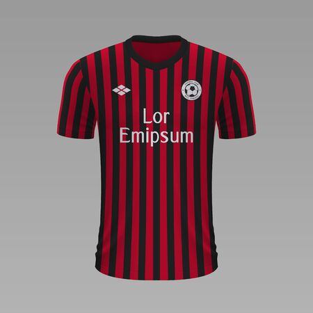 Realistic soccer shirt Milan 2020, jersey template for football kit