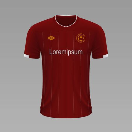Realistic soccer shirt Liverpool 2020, jersey template for football kit. Vector illustration
