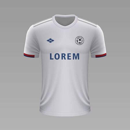 Realistic soccer shirt Lyon 2020, jersey template for football kit. Vector illustration