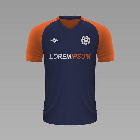 Realistic soccer shirt Montpellier 2020, jersey template for football kit. Vector illustration Stock Illustratie