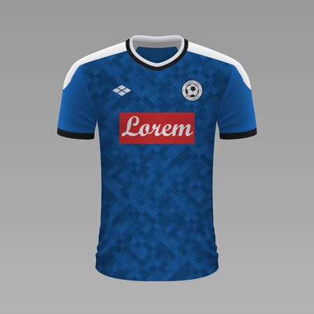 Realistic soccer shirt Napoli 2020, jersey template for football kit