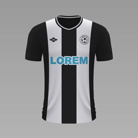 Realistic soccer shirt Newcastle 2020, jersey template for football kit. Vector illustration Vettoriali