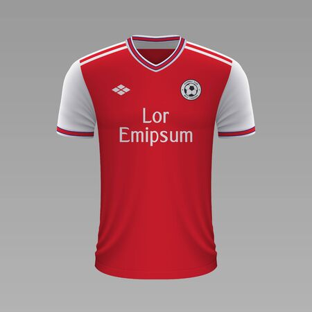 Realistic soccer shirt Arsenal 2020, jersey template for football kit. Vector illustration