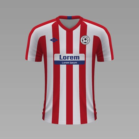 Realistic soccer shirt Atletico Madrid 2020, jersey template for football kit. Vector illustration