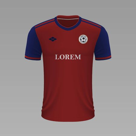 Realistic soccer shirt Basel 2020, jersey template for football kit