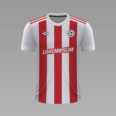 Camiseta de fútbol realista Olympiakos 2020, plantilla de camiseta para kit de fútbol Ilustración de vector