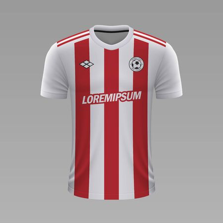 Realistic soccer shirt Olympiakos 2020, jersey template for football kit Illustration