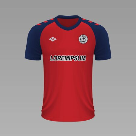 Realistic soccer shirt Osasuna 2020, jersey template for football kit. Vector illustration