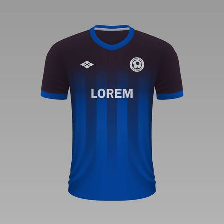 Realistic soccer shirt Paderborn 2020, jersey template for football kit Illustration