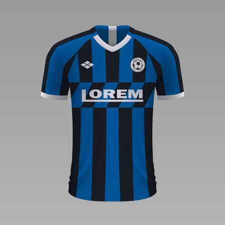 Realistic soccer shirt Inter 2020, jersey template for football kit Illustration
