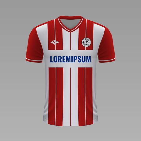 Realistic soccer shirt Red Star2020, jersey template for football kit