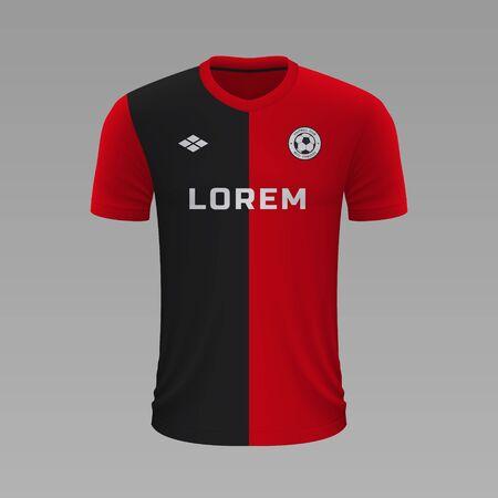 Realistic soccer shirt Rennais 2020, jersey template for football kit. Vector illustration Stock Illustratie