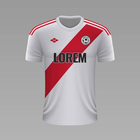 Realistic soccer shirt River Plate2020, jersey template for football kit