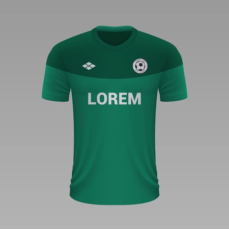 Realistic soccer shirt Saint-Etienne 2020, jersey template for football kit. Vector illustration
