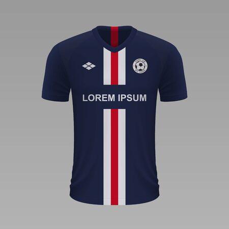 Realistic soccer shirt Paris SG 2020, jersey template for football kit. Vector illustration Stock Illustratie