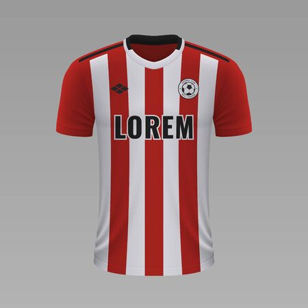 Realistic soccer shirt Sheffield United 2020, jersey template for football kit. Vector illustration