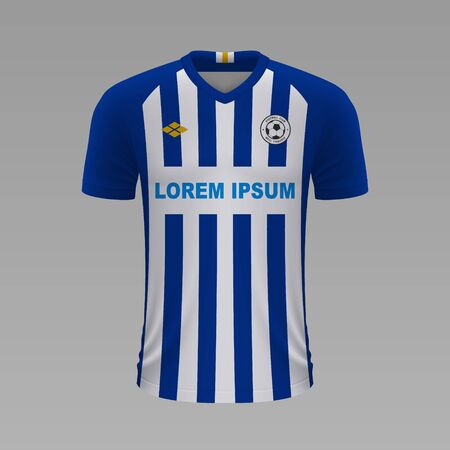 Realistic soccer shirt Brighton 2020, jersey template for football kit. Vector illustration
