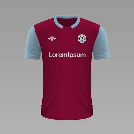 Realistic soccer shirt Burnley 2020, jersey template for football kit. Vector illustration