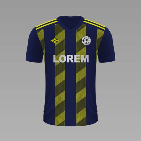 Realistic soccer shirt Fenerbahce 2020, jersey template for football kit