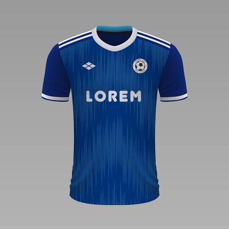 Realistic soccer shirt Strasbourg 2020, jersey template for football kit. Vector illustration