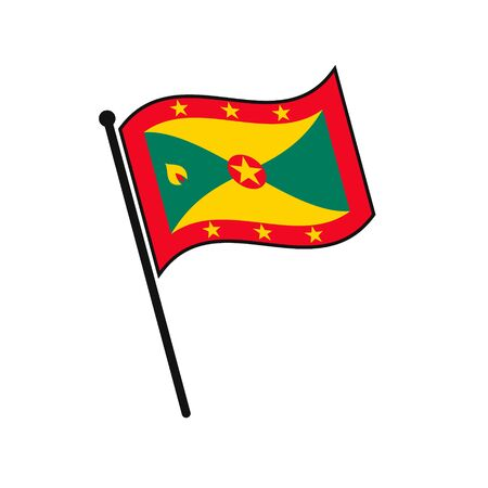 Simple flag Grenada icon isolated on white background