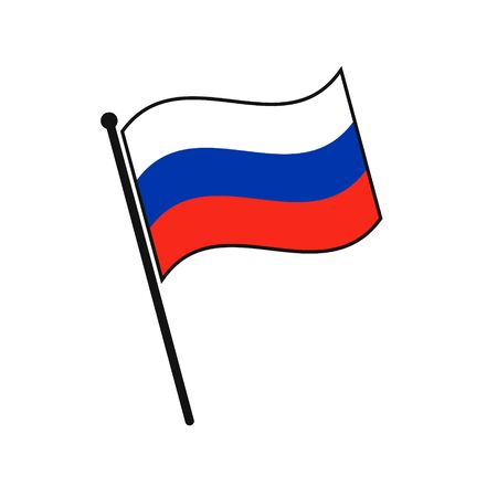Simple flag Russia icon isolated on white background Illustration