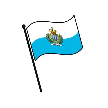 Simple flag San Marino icon isolated on white background Illustration